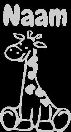 Geboortesticker giraffe zit