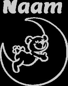 Geboortesticker beer op maan