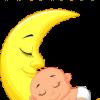 baby slaapt op maan