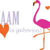 geboortesticker roze flamingo