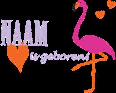geboortesticker roze flamingo