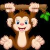 geboortesticker aapje hangt