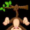 raamsticker aapje hangt