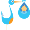 Geboortesticker blauwe ooievaar