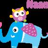 Geboortesticker uiltje op olifant