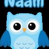 Geboortesticker blauwe uil